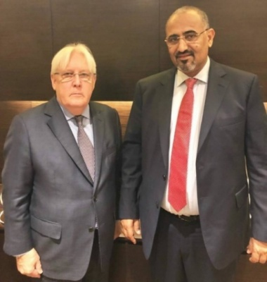 President of the Southern Transitional Council meets with the UN Special Envoy to Yemen Martin Griffith