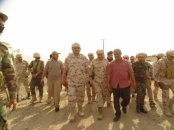 President Al-Zubaidi and Commander of Arab Coalition inspect Fifth Back-up and Support Brigade in Radfan and Tenth Thunderbolt Brigade in Al-Musaymir