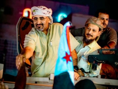 President Al-Zubaidi salutes the crowds in Khormakser arena in Aden the capital
