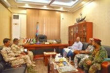 President Al-Zubaidi meets leaderships of brigade 11th thunderbolt and 2nd Rapid Raid brigade of Abyan