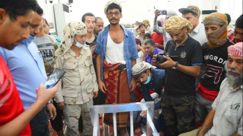 Solemn procession in the capital Aden for the funeral of war international photographer martyr Nabil Al-Qaiti