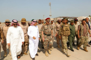Major General Bin Brik receives the Saudi military committee of Arab Coalition
