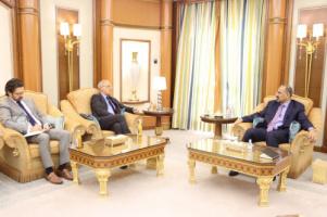 President Al-Zubaidi receives the United Kingdom Ambassador and his deputy