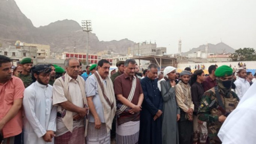 Leaders of Southern Transitional Council perform Eid al-Adha prayers with people in Aden the capital