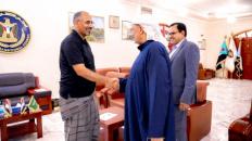 President Al-Zubaidi meets members of Presidency of the Council; Major General Salem Al-Socotri and Sultan Al-Afrar